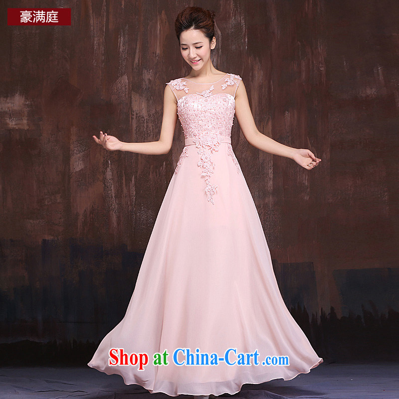 Marriages pink long shoulders serving toast bridesmaid service 2015 fashion style Lace Embroidery fall long skirt pink XL