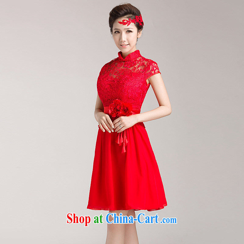 Ho full Chamber 2015 new marriages served toast red short wedding lace cheongsam dress short-sleeved red XL