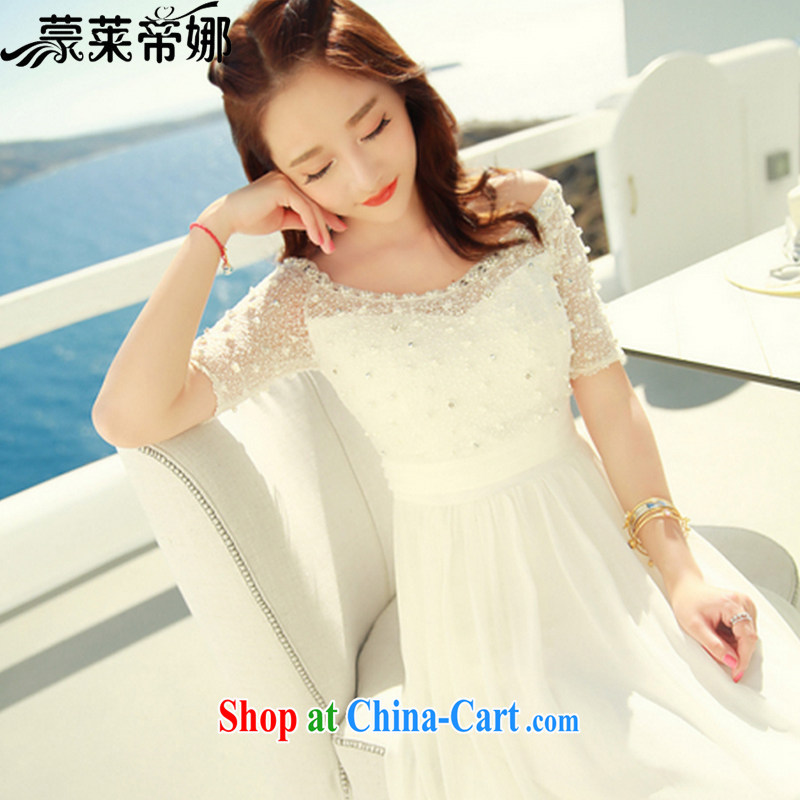 Tony Blair, in Dili, summer 2015 new dress string nails Pearl lace snow woven dresses summer bohemian long skirt beach resort beach skirt 6030 white M