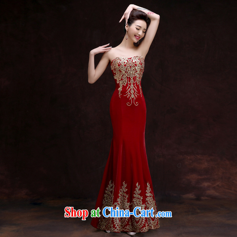 A good service is 2015 new bride's red married Mary Magdalene chest dress banquet evening support people long dress female long 2XL