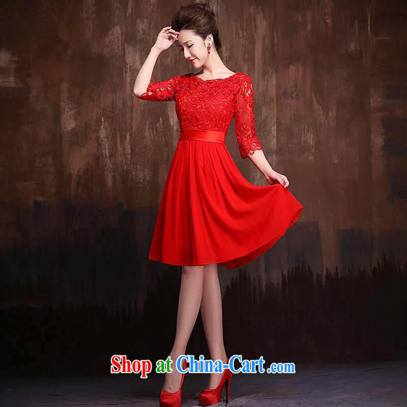 Ho full Chamber red 7 cuff marriages toast one shoulder field cultivating evening dress lace short bridal red XL