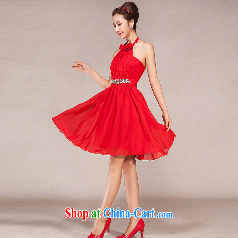Spring 2015 Korean version is too short, Evening Dress bridesmaid dress bridal toast serving Princess small dress red XL