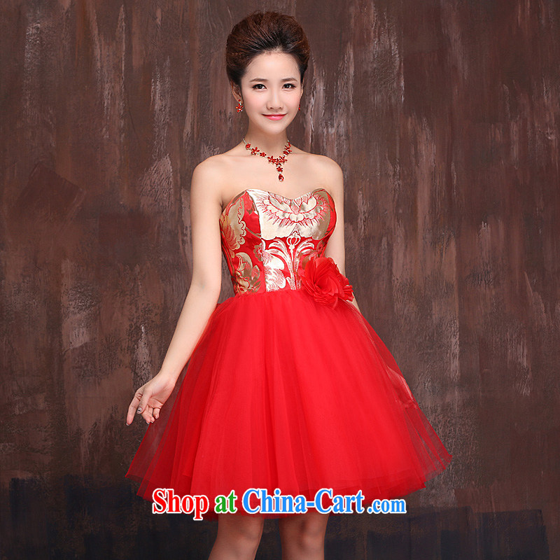 Marriages served toast wedding dresses 2015 New red short shaggy dress wiped chest dress bridesmaid clothing summer red L