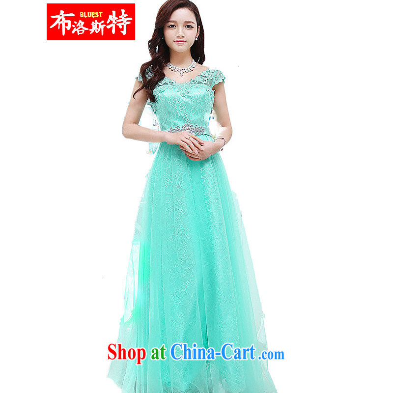 The new, wedding dress, ball gown long dress beauty graphics thin large skirt banquet dress uniform toast green XL
