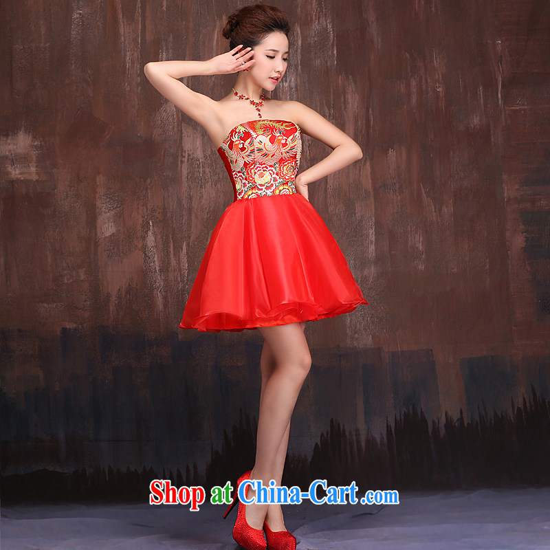 Ho full court marriages served toast red 2015 spring new dress cheongsam Phoenix theme clothing skirts red XL