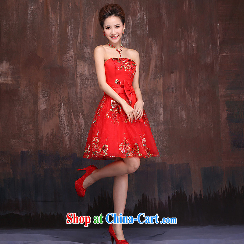 Ho full court marriages red short bows service 2015 spring new dress lace embroidery butterfly knot female Red XL