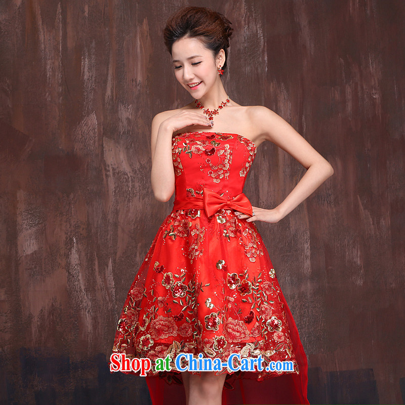 Ho full Chamber 2015 new front short long strap dress wedding dresses bridal dresses red short bows serving red XL