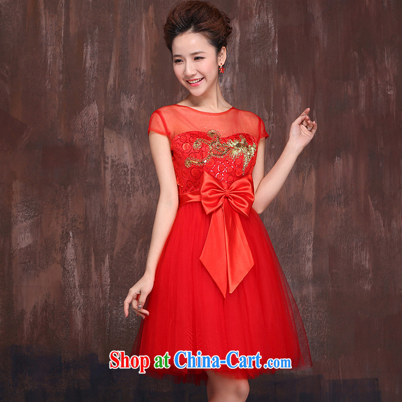 Marriages red short bows service 2015 spring and summer New Gold embroidered Fung Openwork shoulders dress cheongsam red XL