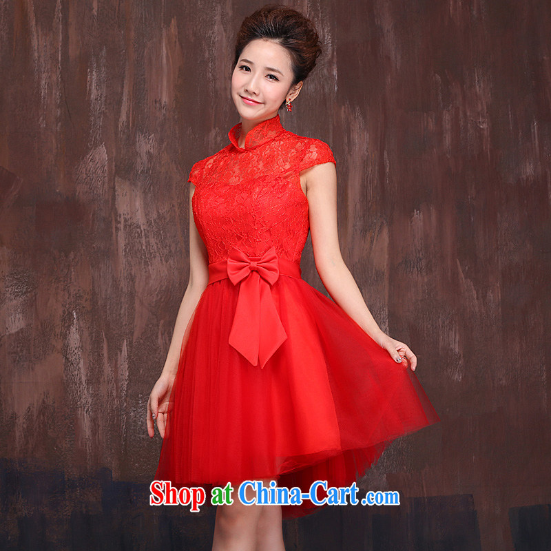Marriages red short bows service 2015 spring and summer new lace flower cheongsam dress bow tie red XL
