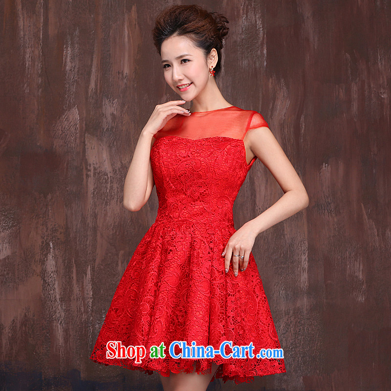 Marriages red short bows service wedding dresses 2015 spring and summer new lace flowers cheongsam dress red XL