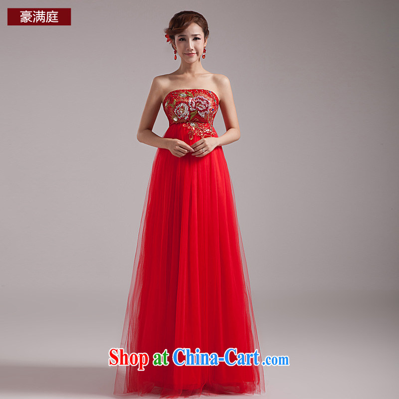 Ho full Chamber 2015 New red long bridal gown Korean lace wedding evening dress high waist dress uniform toasting red L