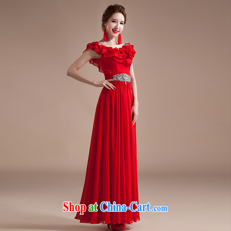 Ho full Chamber new 2015 Spring and Autumn Korean version flouncing large code female Red Snow woven dresses long dresses annual red XL