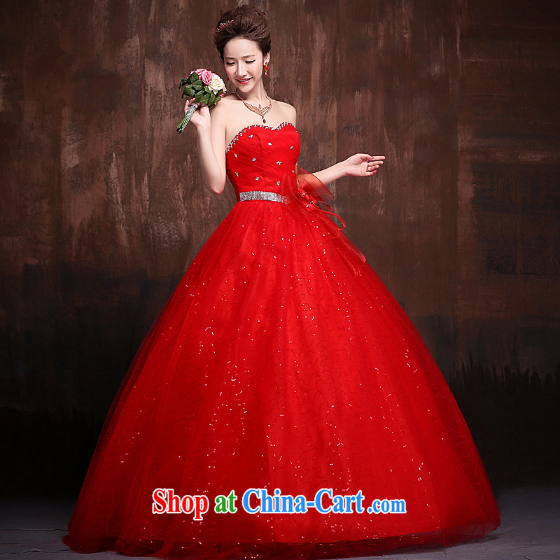 Ho full Chamber wedding dresses 2015 New with bare chest flowers graphics thin super star stylish wedding red tie with a red XL