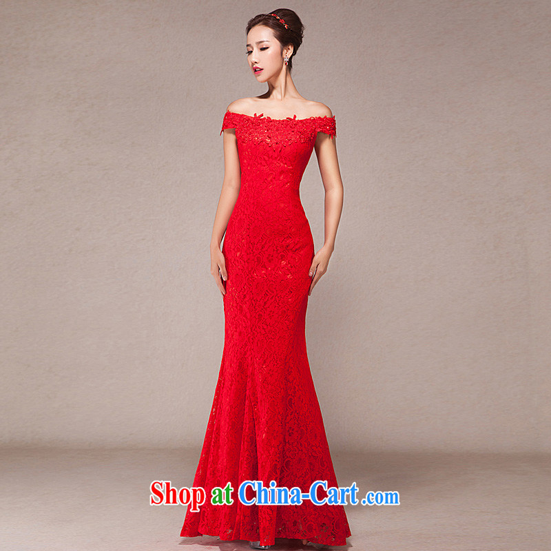 Bridal toast one field shoulder long wedding dress 2015 new spring Korean fashion red evening dress skirt red XL