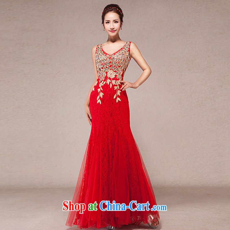 Evening Dress 2015 new toast Service Annual Spring dresses double-shoulder cultivating crowsfoot marriages long dress with XL