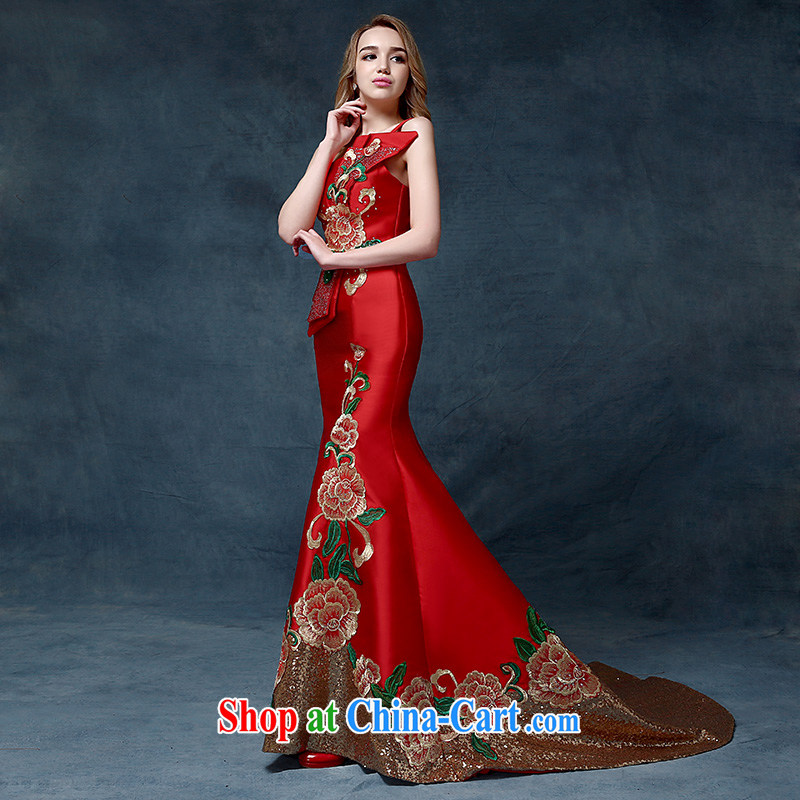 According to Lin Sa 2015 new single shoulder embroidery dress China wind crowsfoot toast stage serving the evening dress high-end bows serving China wind speech red are code