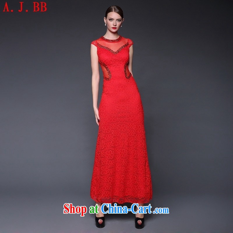 Black Butterfly in Europe and the 2015 new summer lace nails pearl cultivation, cheongsam dress dresses W 0389 red are code