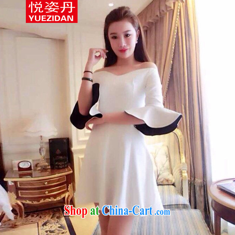 Yue Chi Dan 2015 summer stars, with a small-yuan Hong, a field for your shoulders flouncing cuff dress small dress white are code