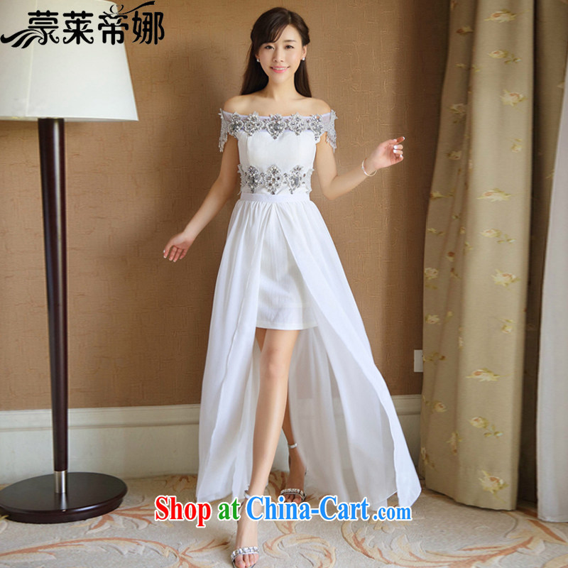 Tony Blair, in Dili, the Korea drill nails Pearl inserts drill dresses Korean short heart ye children with name-yuan dress skirt summer dress 6048 white M