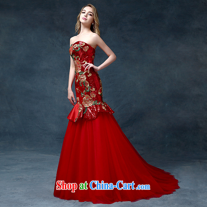 According to Lin bride Elizabeth Mary Magdalene chest tail bows serving China wind embroidery cultivating crowsfoot Banquet Hosted Evening Dress red are code