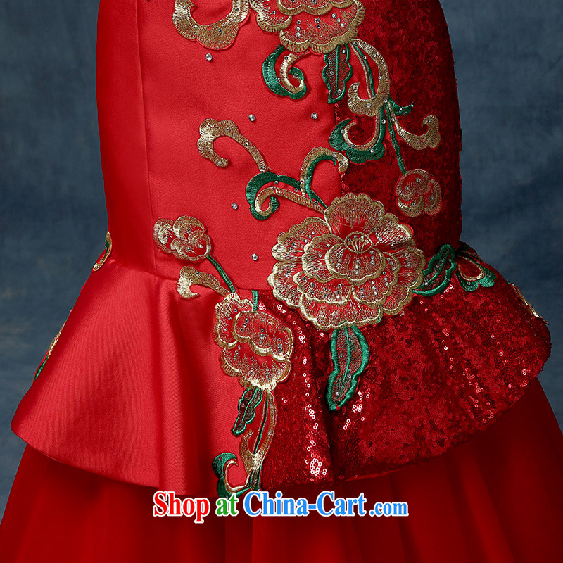 According to Lin Elizabeth Mary Magdalene bride chest tail bows serving China wind embroidery cultivating crowsfoot Banquet Hosted Evening Dress red, code, in accordance with Elizabeth Lin, shopping on the Internet