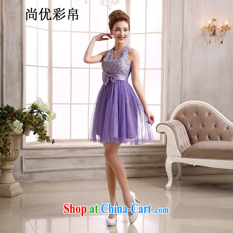 It is also optimized condolence new bridesmaid dress short shoulders small dress dress bridal Dinner served toast bridesmaid dress MZ 5770 purple XL