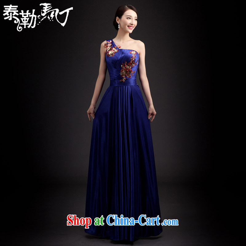 Martin Taylor 2015 long dress Spring Summer Korean blue host service banquet Evening Dress wedding bridesmaid serving long skirt blue XXL