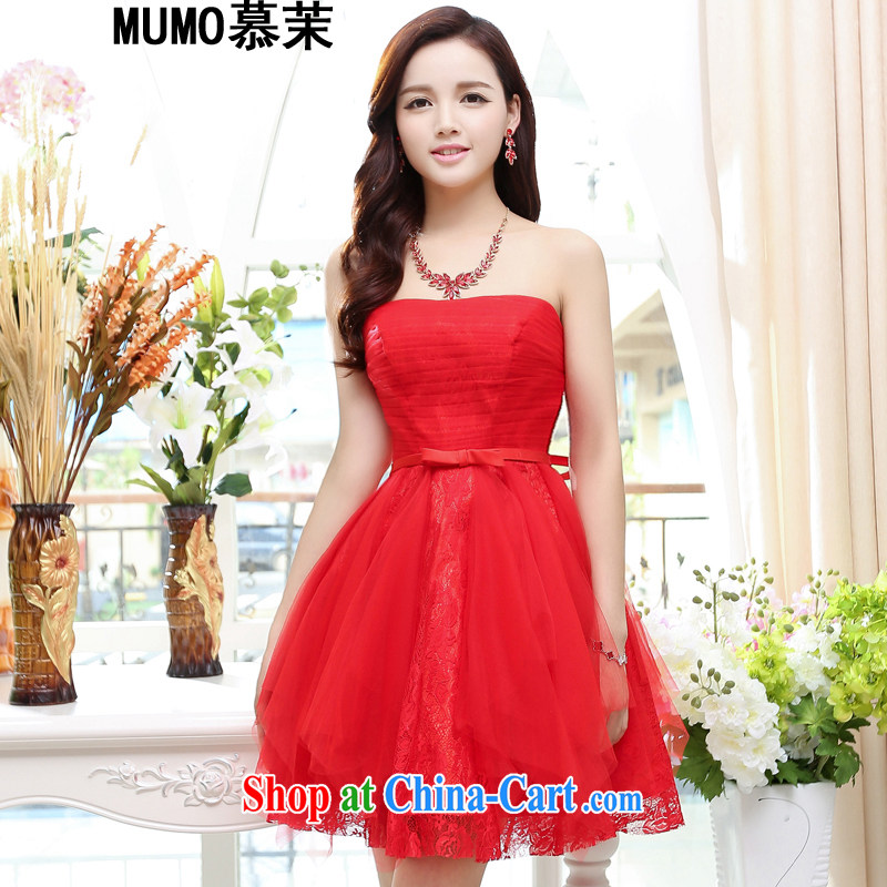 The energy 2015 summer new bridesmaid dress Mary Magdalene in his chest long marriages served toast bridesmaid's sister company dress show annual dress lace dress red XL