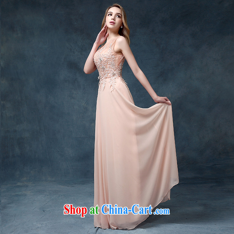 According to Lin Sa 2015 new dual-shoulder pink bridesmaid dresses bridal wedding toast serving long dress banquet dress pink XL
