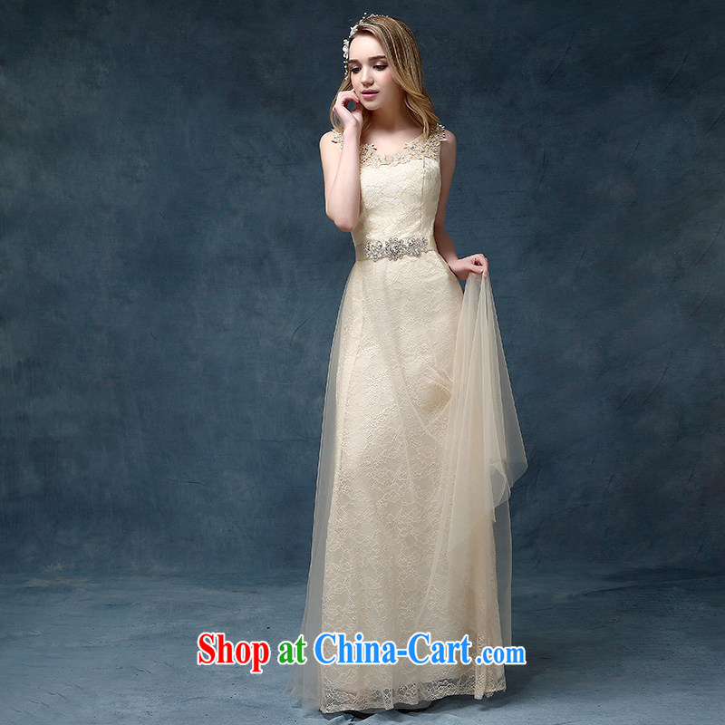 According to Lin Sha Evening Dress Bridal Fashion 2015 new wedding bridesmaid dress banquet toast serving long cultivating champagne color champagne color XL