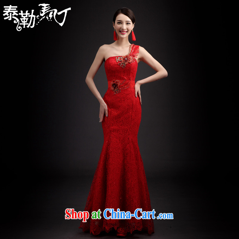 Martin Taylor 2015 bridal toast serving Korean spring and summer long, large, modern large flower nails Pearl lace fabric sexy single shoulder dress red XXL