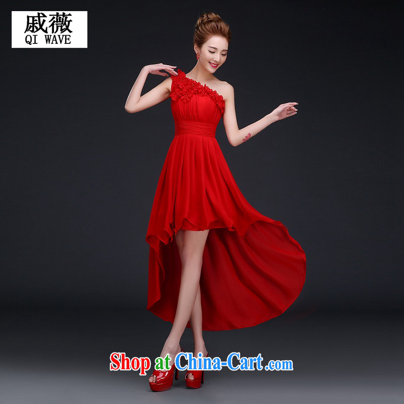 Qi wei bridal wedding dress uniform toasting Red single flower shoulder long ago after short gown girl red M