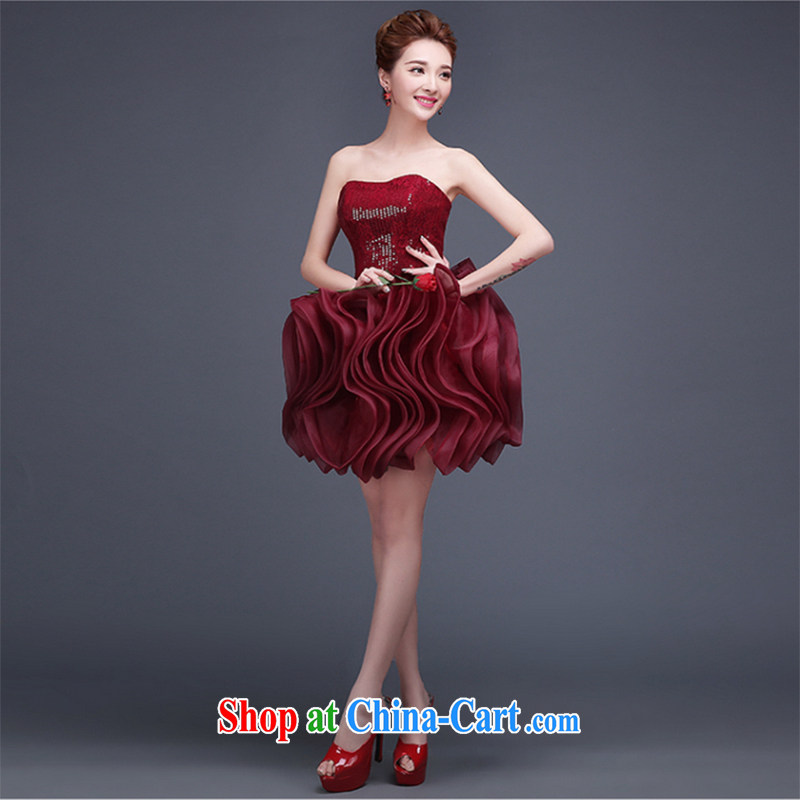 Qi wei summer 2015 new marriages served toast dress wine red short erase chest small dress stylish banquet show deep red custom plus _30