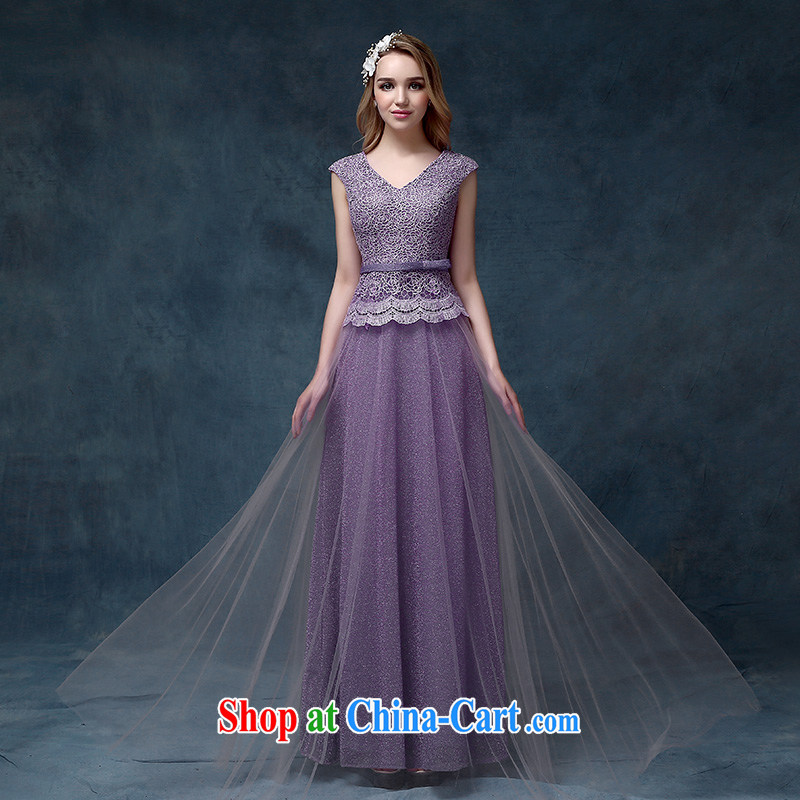 According to Lin Sa 2015 new dual-shoulder V collar lace-up dress bridal toast serving long marriage dress purple XL