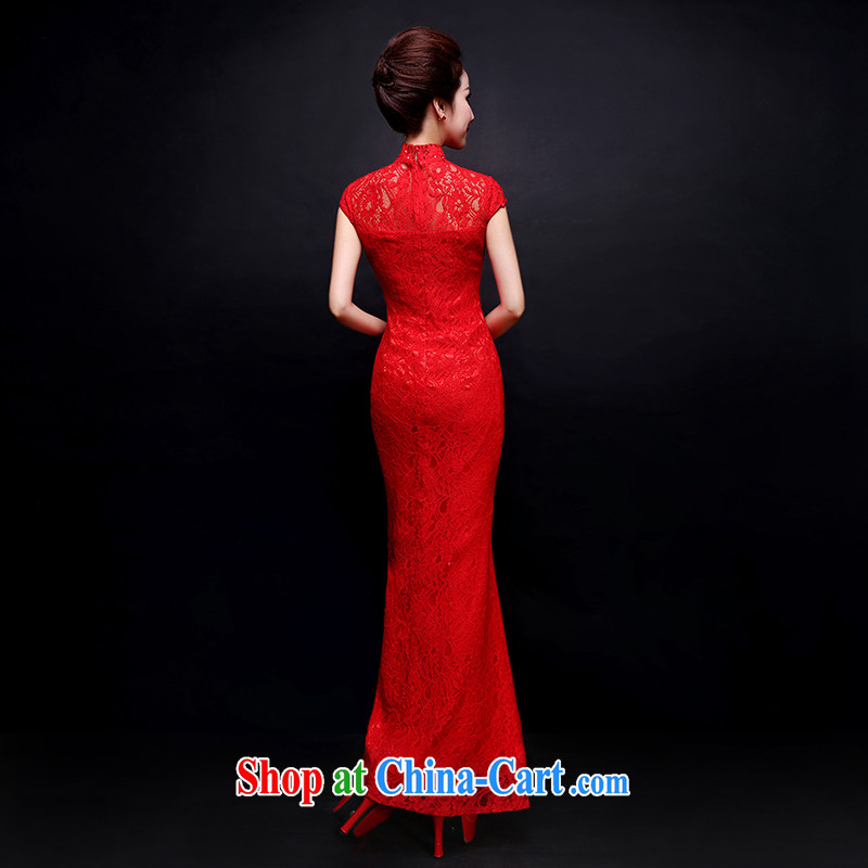 Wei Qi red bridal wedding toast serving long dress qipao improved Chinese elegant lace beauty at Merlion dress summer red custom plus $30, Qi wei (QI WAVE), online shopping