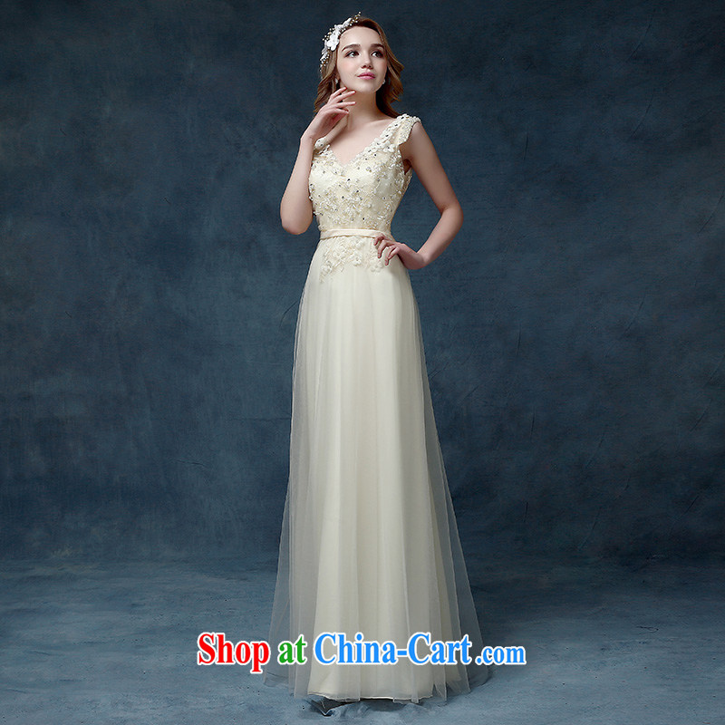 According to Lin Sa 2015 new bride toast wedding dress long bridesmaid clothing skirts dresses champagne color dress champagne color S