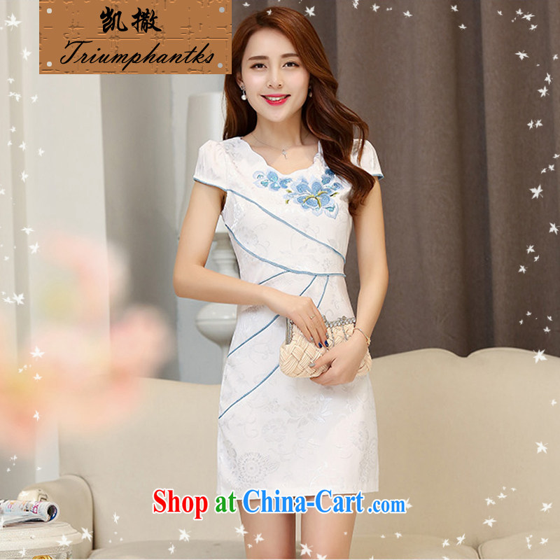 Caesar's summer 669 new women with stylish beauty short-sleeved round-collar embroidered dresses qipao graphics thin bride bridesmaid dress uniform toast back door service white blue XXL