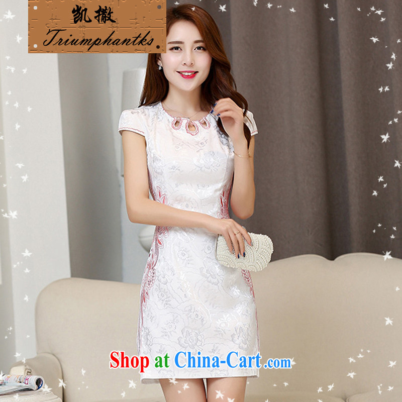 Caesar's summer 670 new women with stylish beauty short-sleeved round-collar embroidered dresses qipao graphics thin bridal bridesmaid dress uniform toasting back door service White Red XXL