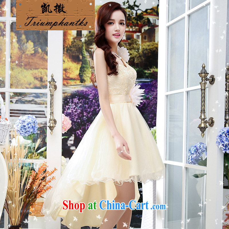 Caesar's summer 673 new women with stylish and cultivating short-sleeved round-collar marriage wedding dresses video thin bride-tail bridesmaid dress uniform toast apricot XL