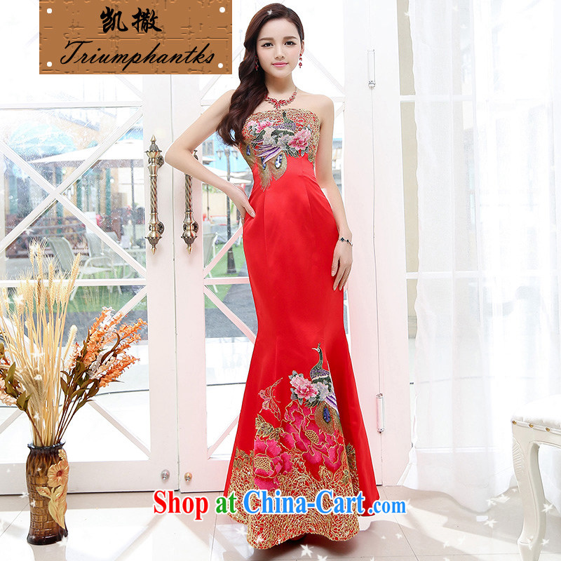 Caesar's summer 675 new women with stylish beauty short-sleeved round-collar marriage wedding embroidered dresses video thin bridal bridesmaid long night at Merlion toast at his scarlet XL