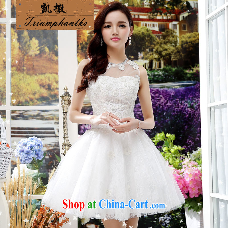 Caesar's summer 676 new women with stylish and cultivating short-sleeved round-collar marriage wedding dresses video thin bridal bridesmaid dress uniform toasting back door service white XL