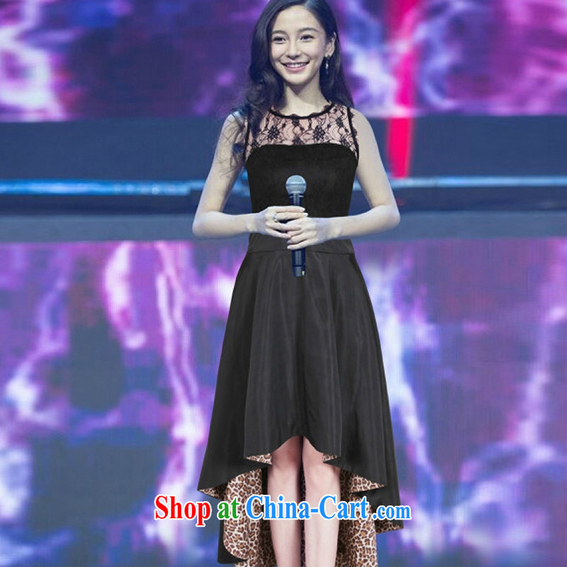Cheuk-yan Zi Xuan 2015 European site new Yang Ying stars with sexy lace stitching Leopard dress dress