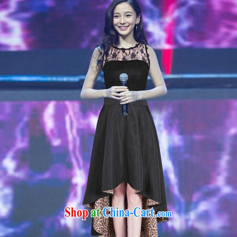 Cheuk-yan Zi Xuan 2015 European site new Yang Ying stars with sexy lace stitching Leopard dress dress