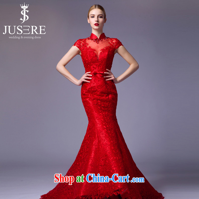 It is the JUSERE high-end wedding dresses 2015 new festive Chinese red name Yuan toast dress uniform high quality fabric red tailored
