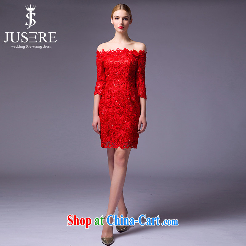It is the JUSERE 2015 new festive Chinese red men toast dress uniform dress uniform performances conducted a field shoulder short beauty graphics thin red tailored