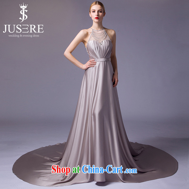 It is not the JUSERE 2015 dress new festive Chinese red name Yuan toast dress uniform dress uniform concert hosted service is also tail high waist graphics thin crescent moon gray tailored