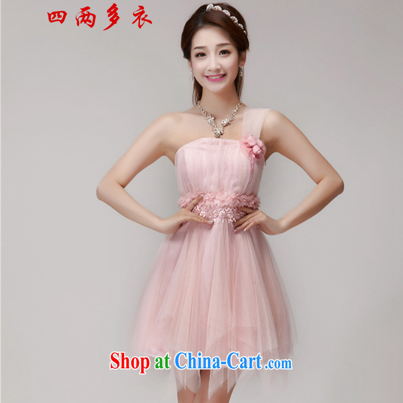42 multi-yi 2015 bridesmaid dresses in banquet dress sister dress short small dress 1563 pink L