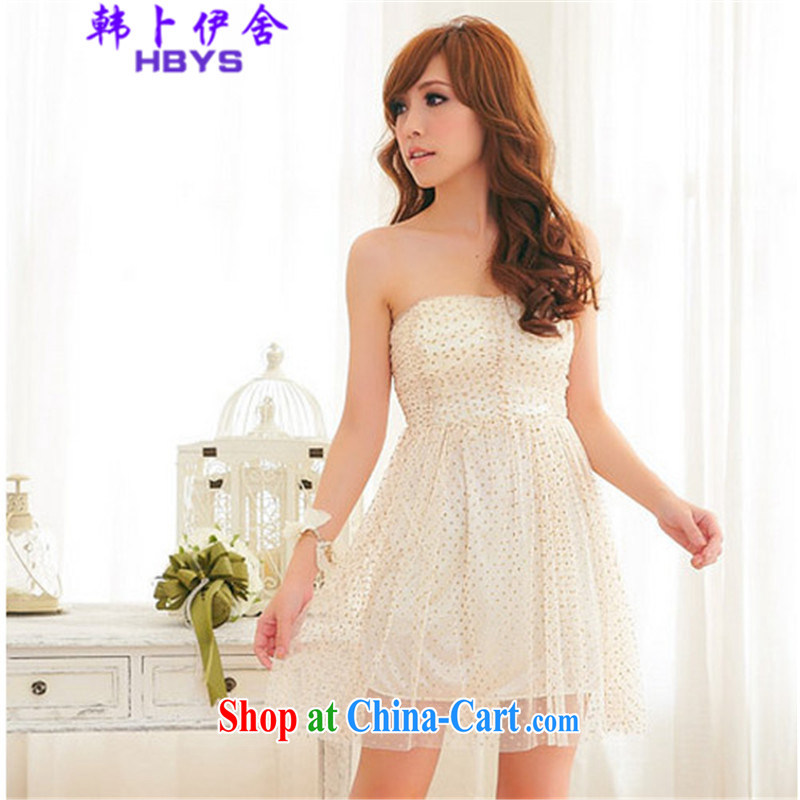 The Korea House, 2015 summer Web yarn wiped chest dress dresses, 302 - 8109 - 24 cream are code