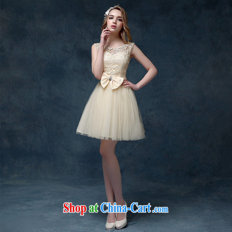 According to Lin Sha 2015 spring and summer new champagne color bridesmaid dress bridal short bows serving shoulders shaggy dress champagne color XL