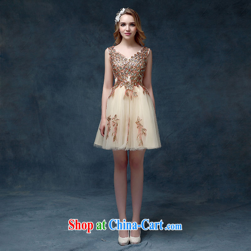 According to Lin Sa 2015 new bridal dresses stylish bridesmaid clothing dress champagne color Korean banquet small dress spring short champagne color S